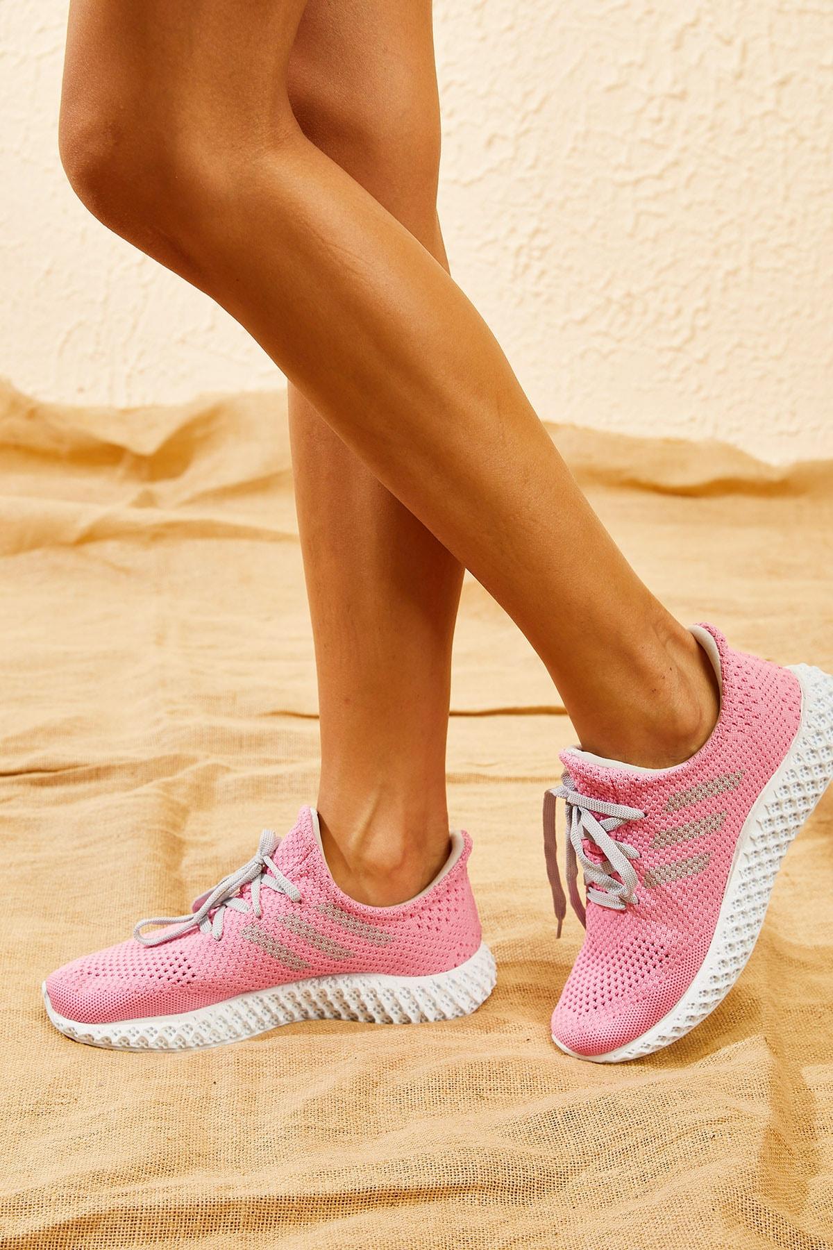 Bianco Lucci Kadın Pembe Rahat Triko Örme Ayakkabı AYKB001 0
