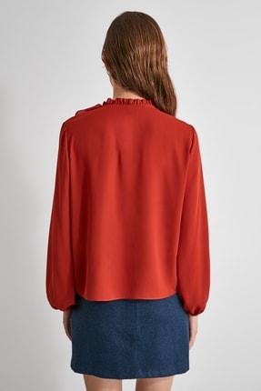 TRENDYOLMİLLA Kiremit Fırfırlı Bluz TWOAW21BZ0708 4