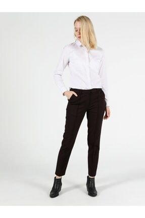 Colin's Slim Fit Orta Bel Düz Paça Kadın Bordo Pantolon 2