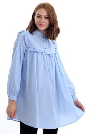 Kadın Modası Kadın Bebe Mavi Hakim Yakası Düğmeli Robası Fırfırlı Tunik 1