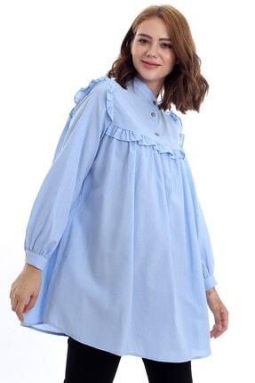 Kadın Modası Kadın Bebe Mavi Hakim Yakası Düğmeli Robası Fırfırlı Tunik 4