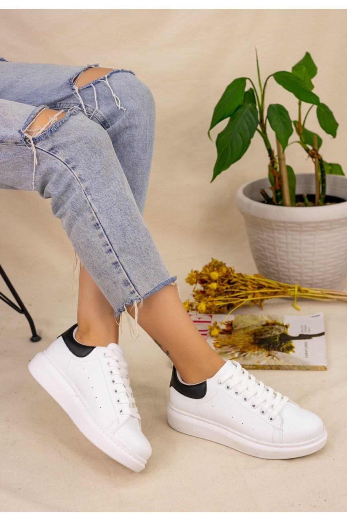 Erbilden Kadın Beyaz Cilt Siyah Detaylı Neomix Spor Ayakkabı