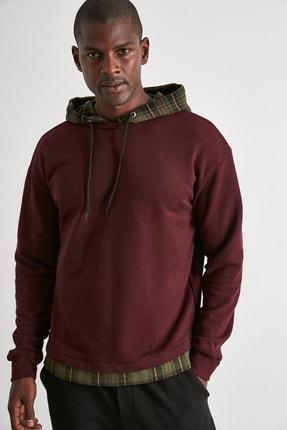 TRENDYOL MAN Bordo Erkek Ekose Kapüşonlu Regular Panelli Sweatshirt TMNAW21SW0810 2