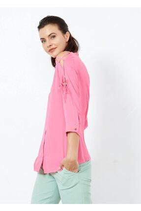 Adze Kadın Pembe Omuz İp Detaylı Yarım Kol Gömlek 4