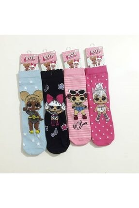 Lol Modatime 12'li Paket Kız Çocuk Desenli Çorap 0