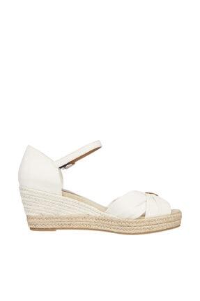 Tommy Hilfiger Kadın Beyaz Sandalet Basıc Open Toe Mıd Wedge FW0FW04785 3