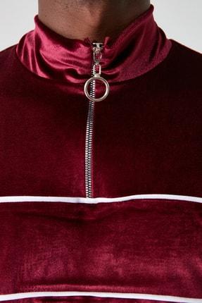 TRENDYOL MAN Bordo Erkek Panelli Fermuarlı Dik Yaka Regular Sweatshirt TMNAW21SW0363 2