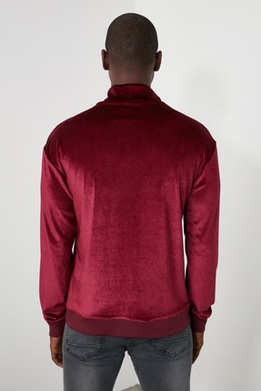TRENDYOL MAN Bordo Erkek Panelli Fermuarlı Dik Yaka Regular Sweatshirt TMNAW21SW0363 4
