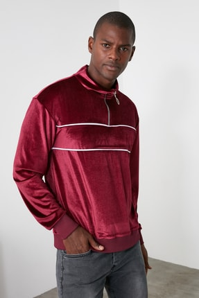 TRENDYOL MAN Bordo Erkek Panelli Fermuarlı Dik Yaka Regular Sweatshirt TMNAW21SW0363 3