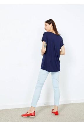 Adze Kadın Lacivert Omuz Düğmeli Basic Tişört 1