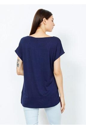 Adze Kadın Lacivert Omuz Düğmeli Basic Tişört 4