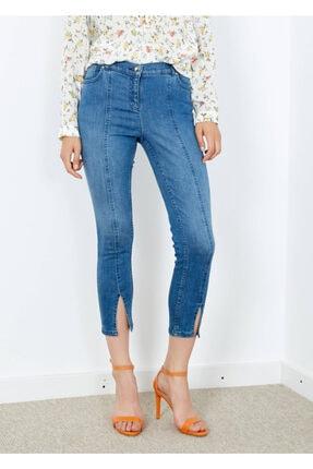 Adze Kadın Mavi 5 Cepli Pantalon Etek Detaylı Jean Pantalon 0