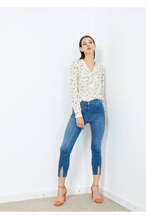 Adze Kadın Mavi 5 Cepli Pantalon Etek Detaylı Jean Pantalon 1