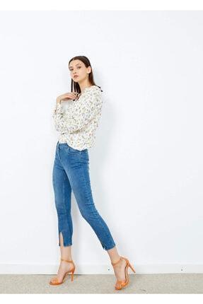 Adze Kadın Mavi 5 Cepli Pantalon Etek Detaylı Jean Pantalon 2
