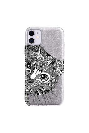 Cekuonline Iphone 11 Kılıf Simli Shining Desenli Silikon Gümüş Gri - Stok2121 - Tekir Kedi Mandala 0