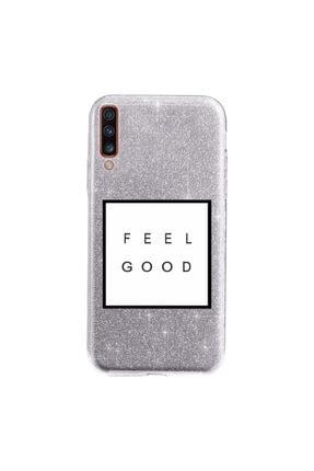 Cekuonline Samsung Galaxy A70 Kılıf Simli Shining Desenli Silikon Gümüş Gri - Stok1897 - Feel Good 0