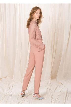 BİRELİN Kadın Pembe Pileli Crep Pantolon 3