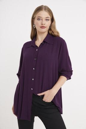 For Big Trend Kadın Gümüs Dügmeli Gömlek 0
