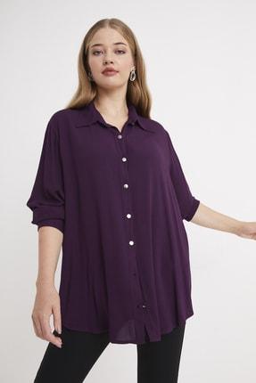 For Big Trend Kadın Gümüs Dügmeli Gömlek 2
