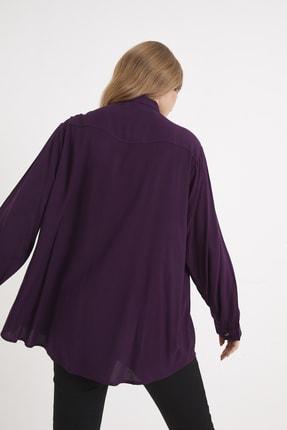 For Big Trend Kadın Gümüs Dügmeli Gömlek 4