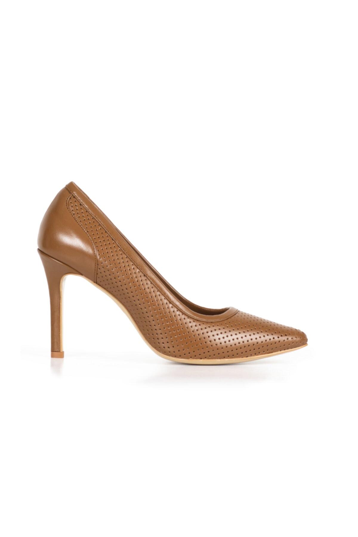 PİRCİ Kadın Taba Deri Stiletto Ayakkabı