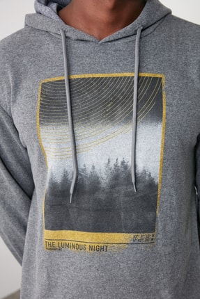 TRENDYOL MAN Antrasit Erkek Baskılı Kapüşonlu Regular Sweatshirt TMNAW21SW0519 2