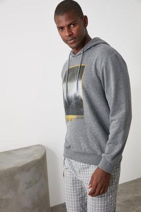 TRENDYOL MAN Antrasit Erkek Baskılı Kapüşonlu Regular Sweatshirt TMNAW21SW0519 3