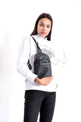 Just Polo Kadın Siyah Gri Renkte Baskılı Bodybag Ayarlanabilir Askılı Omuz Çantası 1