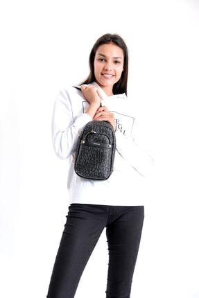 Just Polo Kadın Siyah Gri Renkte Baskılı Bodybag Ayarlanabilir Askılı Omuz Çantası 3