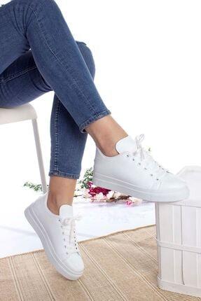epaavm Kadın Beyaz Düz  Cilt Spor Ayakkabı 2