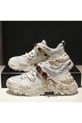 My Black Shoes Kadın Özel Taşlı Beyaz Sneaker 0
