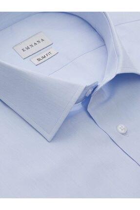 EMNANA Buz Mavisi Pamuklu Slim Fit Gömlek 1