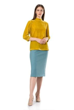 BİRELİN Kadın Sarı Truvakar Kol Kadife Bluz 0