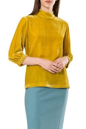 BİRELİN Kadın Sarı Truvakar Kol Kadife Bluz 1