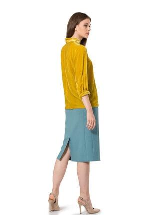 BİRELİN Kadın Sarı Truvakar Kol Kadife Bluz 3