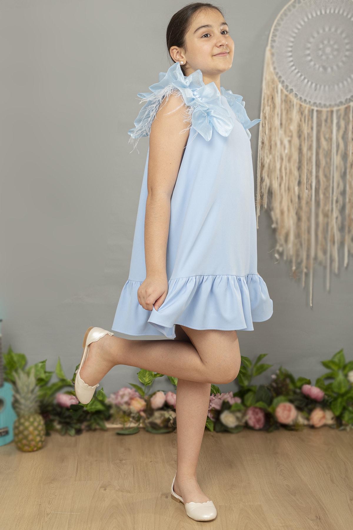 Kız Çocuk Omuz Detaylı Tüylü Elbise (bebe Mavisi)