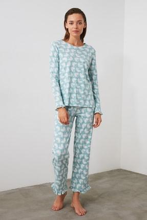 TRENDYOLMİLLA Mint Baskılı Örme Pijama Takımı THMAW21PT0247 0