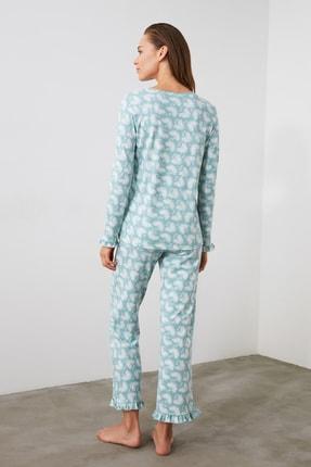 TRENDYOLMİLLA Mint Baskılı Örme Pijama Takımı THMAW21PT0247 3