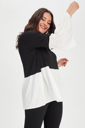 Moda Cazibe Kadın Siyah Krem İspanyol Kol Poplin Tunik 3
