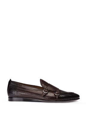 Picture of Erkek Kahverengi Hakiki Deri Çift Tokalı Ayakkabı