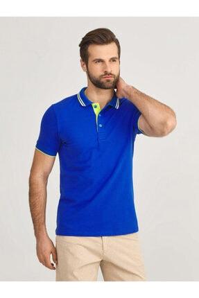 Mcl Giyim Erkek LacivertPolo Yaka Pamuklu Slim Fit Büyük Beden T-Shirt 0