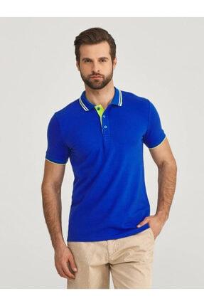 Mcl Giyim Erkek LacivertPolo Yaka Pamuklu Slim Fit Büyük Beden T-Shirt 2