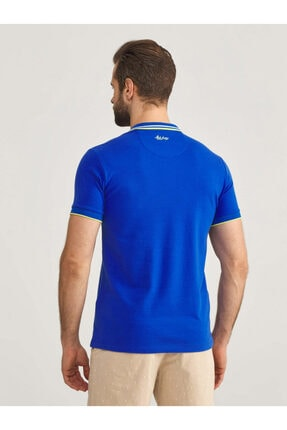 Mcl Giyim Erkek LacivertPolo Yaka Pamuklu Slim Fit Büyük Beden T-Shirt 3