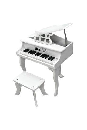 Lino Ahşap 30 Tuşlu Kuyruklu Beyaz Piyano 0