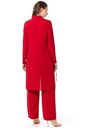 Nihan Kadın Kırmızı Pantolonlu Tunik Takım 4
