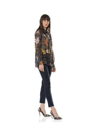 BİRELİN Kadın Lacivert Fleural Bluz 2