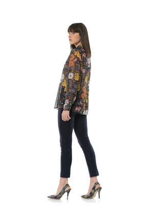 BİRELİN Kadın Lacivert Fleural Bluz 3