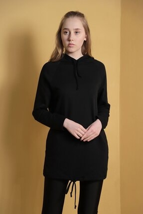Carlamia Kadın Siyah Kapüşonlu Eteği Bağcıklı Sweatshirt 2