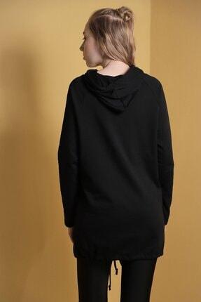 Carlamia Kadın Siyah Kapüşonlu Eteği Bağcıklı Sweatshirt 3