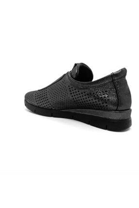 Mammamia Kadın Siyah-Platin Hakiki Deri Günlük Ayakkabı 2